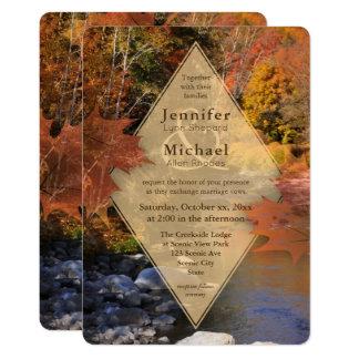 Cartão Casamento do outono das folhas de bordo das