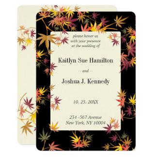 Cartão Casamento do outono do bordo da queda
