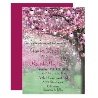 Cartão Casamento do primavera da flor de cerejeira