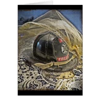 Cartão Casamento do sapador-bombeiro