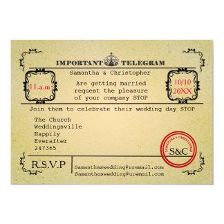 Cartão Casamento do telegrama do vintage