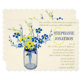 Cartão Casamento do Wildflower do frasco de pedreiro do