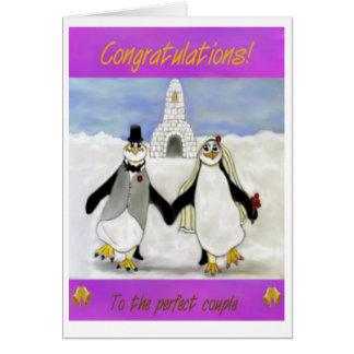 Cartão Casamento dos pinguins