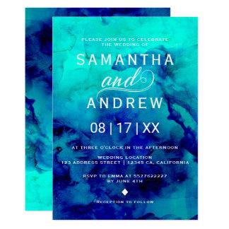 Cartão Casamento elegante da aguarela azul moderna de