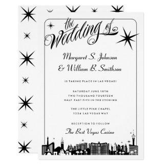 Cartão Casamento elegante da skyline da tira de Las Vegas