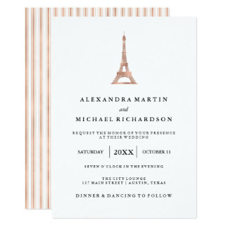 Cartão Casamento elegante da torre Eiffel do ouro
