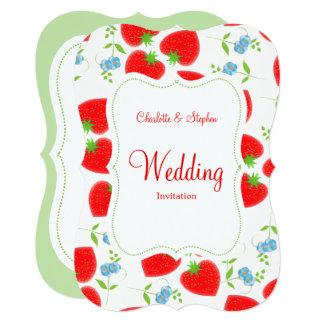 Cartão Casamento elegante das morangos e das flores do