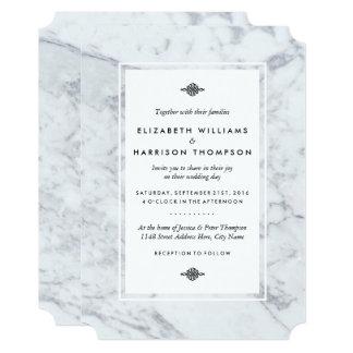 Cartão Casamento elegante do mármore do vintage