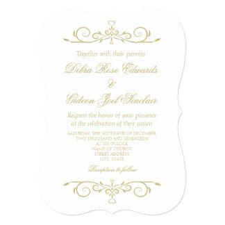 Cartão Casamento elegante do monograma do branco e do