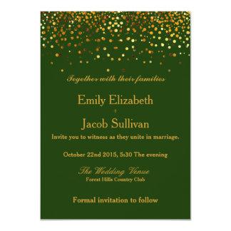 Cartão Casamento elegante dos confetes da folha de ouro