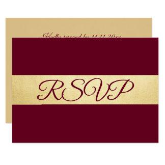 Cartão Casamento elegante personalizado de Borgonha RSVP