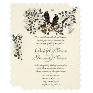 Cartão Casamento Enchanted do pássaro do amor da floresta