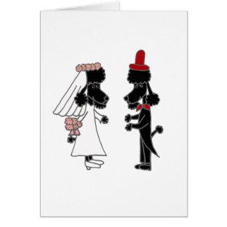 Cartão Casamento engraçado dos noivos da caniche