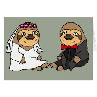 Cartão Casamento engraçado dos noivos da preguiça