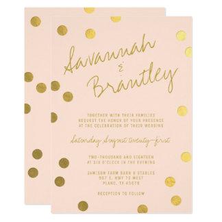 Cartão Casamento escrito à mão dos confetes da folha de