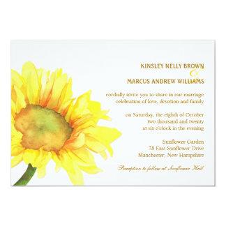 Cartão Casamento exterior ocasional dos girassóis
