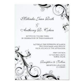 Cartão Casamento filigrana do preto w/White 5x7 do