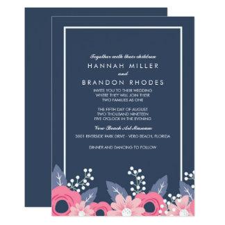 Cartão Casamento floral azul brilhante misturado das