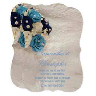 Cartão Casamento floral azul do buquê das noivas