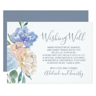 Cartão Casamento floral azul empoeirado que deseja bem