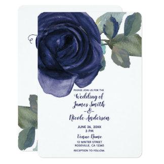 Cartão Casamento floral azul roxo do índigo vibrante