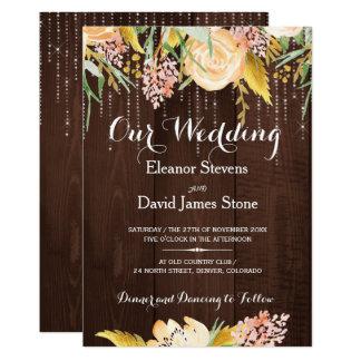 Cartão Casamento floral botânico de madeira do celeiro