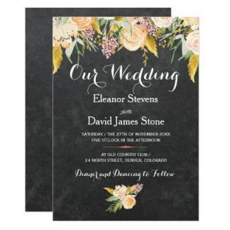 Cartão Casamento floral botânico do quadro rústico do