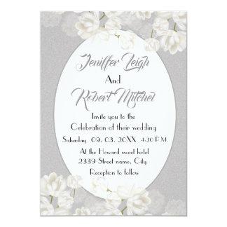 Cartão Casamento floral branco e de prata elegante