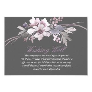 Cartão Casamento floral cinzento do inverno que deseja