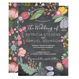 Cartão Casamento floral colorido do quadro da grinalda do