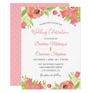 Cartão Casamento floral cor-de-rosa coral da aguarela do