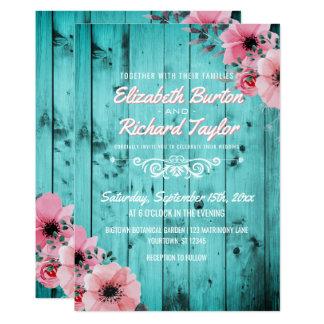 Cartão Casamento floral cor-de-rosa de madeira da cerceta