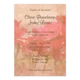 Cartão Casamento floral cor-de-rosa do vintage