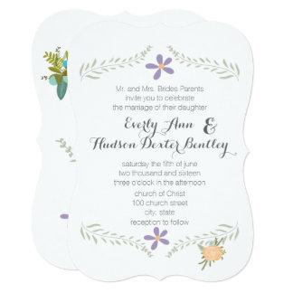 Cartão Casamento floral da festão do Aqua do Lilac do