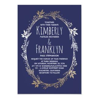 Cartão Casamento floral da grinalda do marinho e do ouro