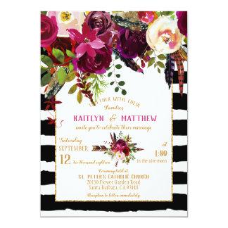Cartão Casamento floral da listra do buquê da seta da