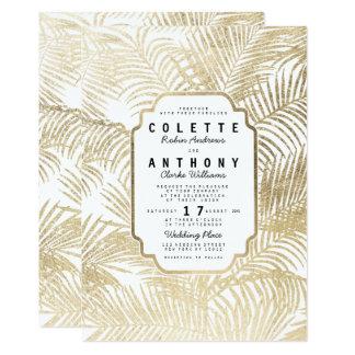 Cartão Casamento floral da palmeira simples elegante do