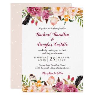 Cartão Casamento floral da pena de Boho do primavera