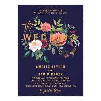 Cartão Casamento floral da tipografia do outono
