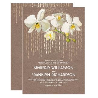 Cartão Casamento floral das orquídeas do vintage Glam e