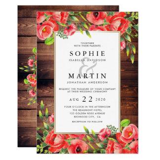 Cartão Casamento floral das papoilas vermelhas de madeira