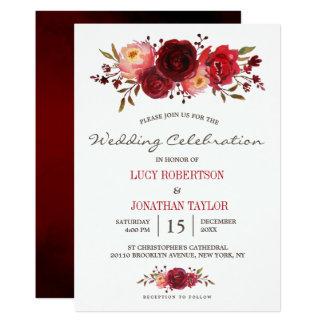Cartão Casamento floral das rosas vermelhas de Borgonha