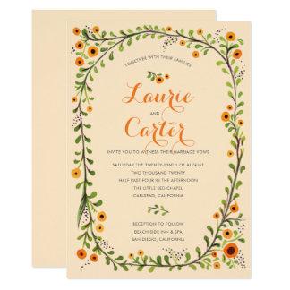 Cartão Casamento floral de florescência amarelo da