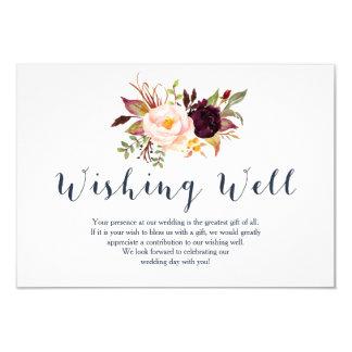 Cartão Casamento floral do marinho de Borgonha que deseja