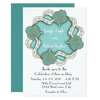 Cartão Casamento floral do monograma de turquesa