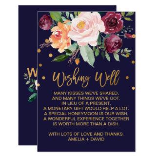 Cartão Casamento floral do outono que deseja bem