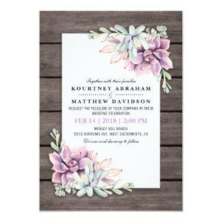 Cartão Casamento floral do Succulent rústico da aguarela