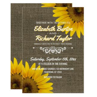 Cartão Casamento floral dos girassóis rústicos de