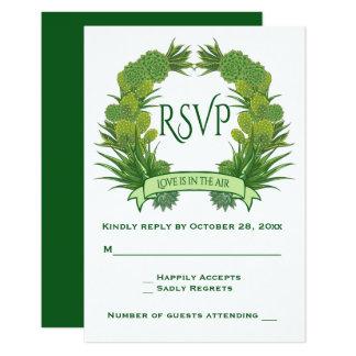 Cartão Casamento floral dos Succulents & do cacto do