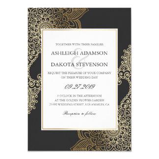 Cartão Casamento floral dourado requintado do Henna